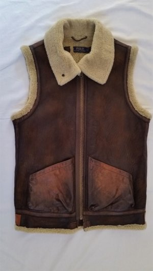 Polo Ralph Lauren Leather Vest black brown-cognac-coloured leather
