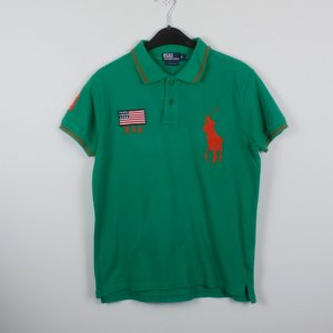 POLO BY RALPH LAUREN Poloshirt Gr. S grün orange Logo Stickerei (18/11/421/K)