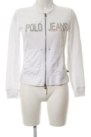 Polo Jeans Co. Ralph Lauren Kurzjacke weiß-hellgrau Schriftzug gedruckt