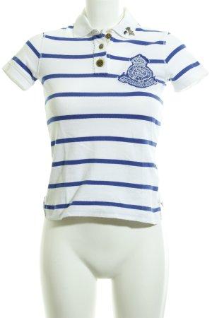 Polo Jeans Co. Ralph Lauren Polo-Shirt wollweiß-blau Streifenmuster Marine-Look
