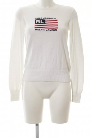 Polo Jeans Co. Ralph Lauren Rundhalspullover weiß Schriftzug gedruckt