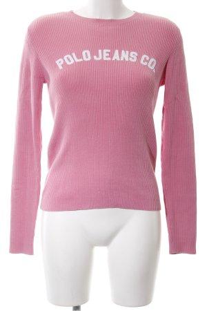 Polo Jeans Co. Ralph Lauren Strickpullover pink Schriftzug gedruckt Casual-Look
