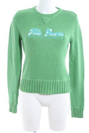 Polo Jeans Co. Ralph Lauren Strickpullover grün Schriftzug gedruckt Casual-Look