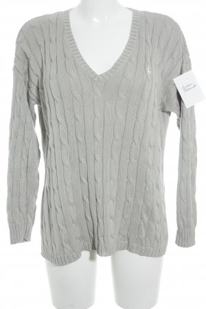 Polo Jeans Co. Ralph Lauren Strickpullover hellgrau Lochstrickmuster Casual-Look