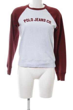 Polo Jeans Co. Ralph Lauren Sweatshirt weiß-rot Schriftzug gedruckt Casual-Look