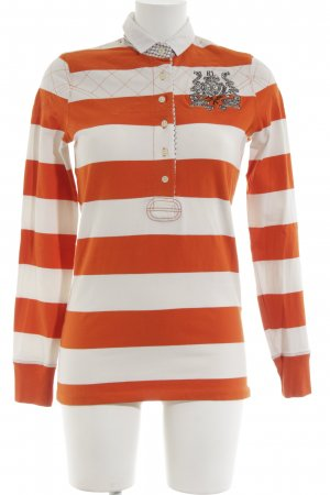Polo Jeans Company Polo-Shirt weiß-hellorange Streifenmuster Casual-Look