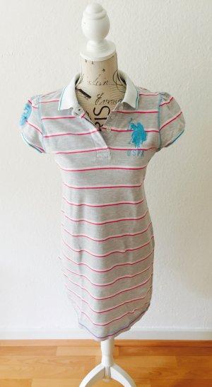 Polo-Kleid// U.S. Polo Assn.// Grau Weiß Pink Türkis