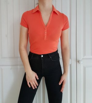 Polo Polohemd Poloshirt Polobluse Polotop hemd bluse shirt tshirt t-shirt orange crop top croptop
