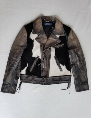 Polo Ralph Lauren, Bikerjacke, Distressed Leather/Haircalf, M, neu, € 1.500,-