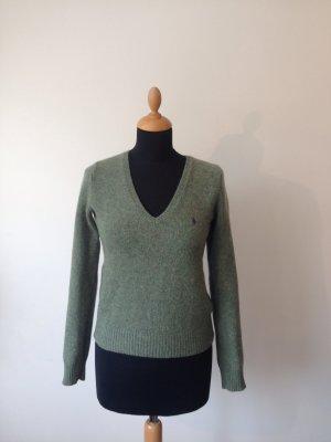 Polo Ralph Lauren Cashmere dick weich kuschelig grün meliert lila Reiter Deep V