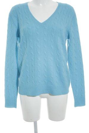 Polo Ralph Lauren Cashmerepullover hellblau Zopfmuster Casual-Look