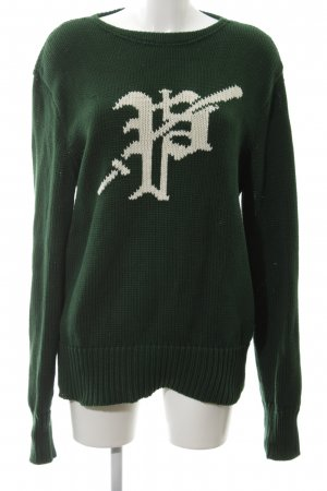 Polo Ralph Lauren Grobstrickpullover grün-wollweiß Schriftzug gedruckt
