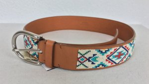 Polo Ralph Lauren, Hand-Beaded Leather Belt, cognac, S, neu