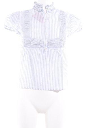 Polo Ralph Lauren Kurzarm-Bluse wollweiß-himmelblau Streifenmuster Casual-Look