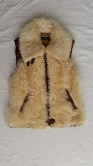Polo Ralph Lauren, Lamb Shearling Oster Vest, brown-cream, L, neu, € 1.800,-