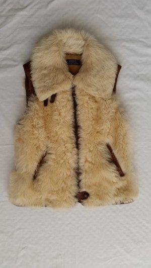 Polo Ralph Lauren, Lamb Shearling Oster Vest, brown-cream, S, neu, € 1.800,-