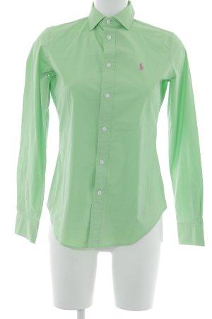 Polo Ralph Lauren Langarm-Bluse grasgrün-neonpink klassischer Stil