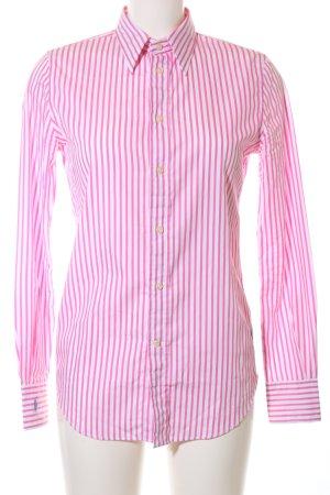 Polo Ralph Lauren Langarm-Bluse weiß-pink Streifenmuster Business-Look