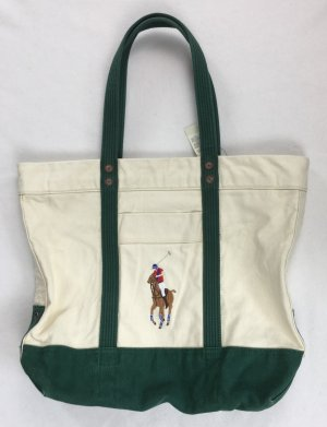 Polo Ralph Lauren, Large Tote/Beach Canvas Bag, Cream-Green, neu