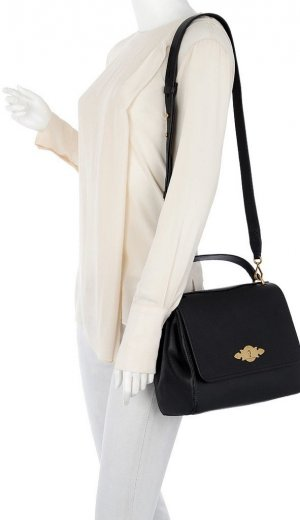Polo Ralph Lauren Carry Bag black-gold-colored leather