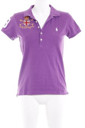 Polo Ralph Lauren Polo-Shirt purpur Schriftzug gestickt Casual-Look
