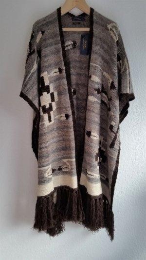 Polo Ralph Lauren, Poncho/Cape mit Fransen, M/L, beige-braun, hand knit, Alpaka/Seide/Leinen/Baumwolle/Cashmere, neu, € 1.400, -