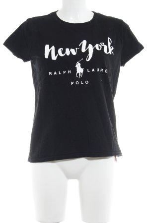 Polo Ralph Lauren Print-Shirt schwarz-weiß platzierter Druck Casual-Look