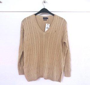Polo Ralph Lauren Pullover Zopfstrick Baumwolle Pima Cotton S neu V Ausschnitt camel