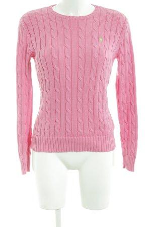Polo Ralph Lauren Rundhalspullover pink Zopfmuster Casual-Look