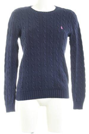 Polo Ralph Lauren Rundhalspullover dunkelblau-magenta Zopfmuster Casual-Look