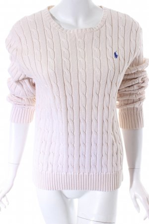 Polo Ralph Lauren Rundhalspullover wollweiß Zopfmuster Casual-Look