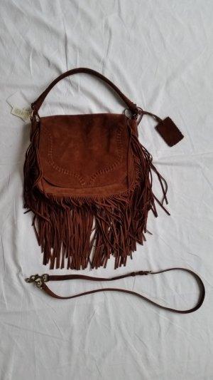 Polo Ralph Lauren, Schulter-/Handtasche mit Fransen, Veloursleder, braun, neu, € 700,-