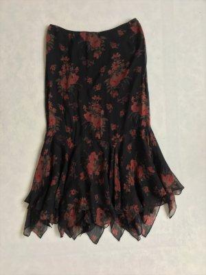 Polo Ralph Lauren, Seidenrock, schwarz, Blumenmuster, 38 (US 8), neu, € 450,-
