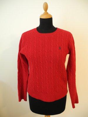 Polo Ralph Lauren Sport Wolle Wollpullover zopfpullover Zopfmuster Zopfstrick Struktur M rot Winter kuschelig edel Luxus