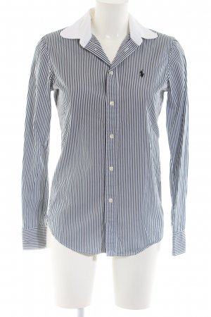 Polo Ralph Lauren Stand-Up Collar Blouse black-white striped pattern casual look
