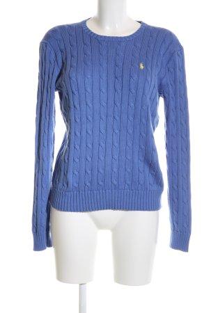 Polo Ralph Lauren Strickpullover blau Zopfmuster Casual-Look