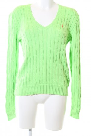 Polo Ralph Lauren Strickpullover grün Zopfmuster Casual-Look