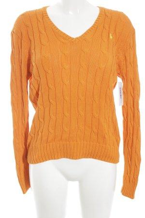 Polo Ralph Lauren Gebreide trui donker oranje kabel steek casual uitstraling