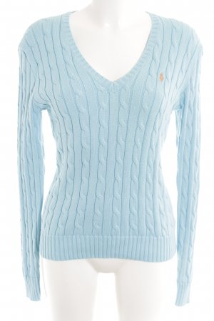 Polo Ralph Lauren Strickpullover hellblau-apricot Zopfmuster Casual-Look