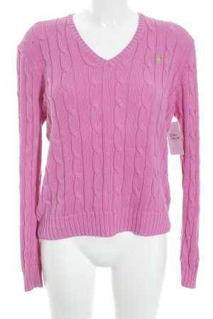 Polo Ralph Lauren Strickpullover pink Zopfmuster Casual-Look