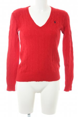 Polo Ralph Lauren Strickpullover rot-dunkelblau Zopfmuster Casual-Look
