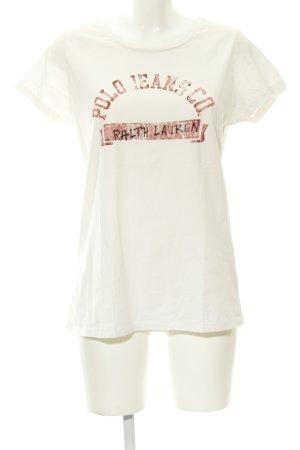 Polo Ralph Lauren T-Shirt weiß-karminrot Schriftzug gedruckt schlichter Stil