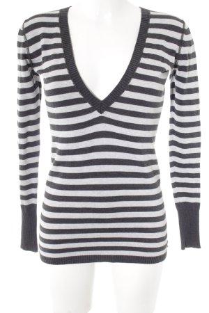Polo Ralph Lauren V-Ausschnitt-Pullover dunkelgrau-hellgrau Streifenmuster