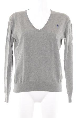 Polo Ralph Lauren V-Ausschnitt-Pullover graugrün meliert Casual-Look