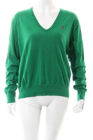Polo Ralph Lauren V-Ausschnitt-Pullover grün-pink klassischer Stil
