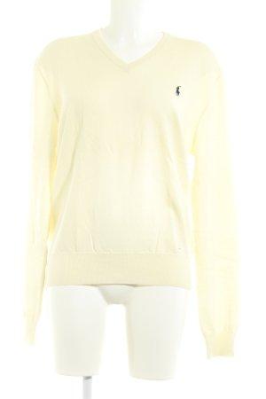 Polo Ralph Lauren Pull col en V beige clair style décontracté