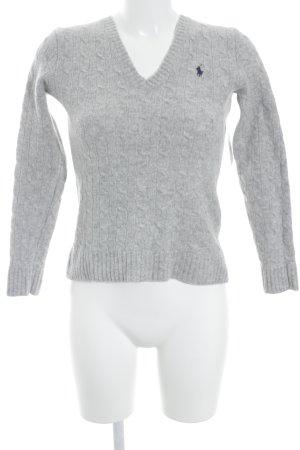 Polo Ralph Lauren V-Ausschnitt-Pullover hellgrau College-Look