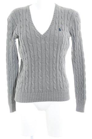 Polo Ralph Lauren V-Ausschnitt-Pullover hellgrau Lochstrickmuster Casual-Look