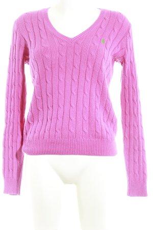Polo Ralph Lauren V-Ausschnitt-Pullover magenta-grün Zopfmuster Casual-Look
