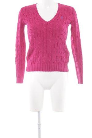 Polo Ralph Lauren V-Ausschnitt-Pullover magenta Zopfmuster Casual-Look